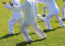 fans of martial arts with white silk dress during the concentrat Royalty Free Stock Photography
