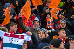 Fans before the match FC Shakhtar-FC Bayern. UEFA Champions League Stock Images