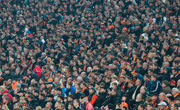 Fans at the match Shakhtar (Donetsk) - Bayer (Leverkusen) Stock Photo