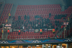 Fans at the match Shakhtar (Donetsk) and Bayer (Leverkusen) Royalty Free Stock Images