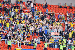 The fans of Metalist in the stands Stock Photography