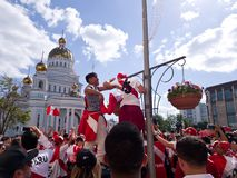 Fans of the national team of Peru staged a festive carnival in the streets. Festive atmosphere in the streets of Saransk.  royalty free stock photos