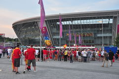 Fans near the Donbass Arena stadium Royalty Free Stock Photo