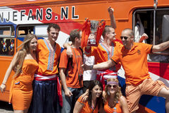 Fans of the Netherlands with the layout Cup royalty free stock photography