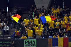 Fans od Romania celebrating the victory with flags Stock Photos