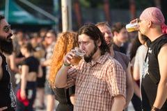 Fans på den Tuborg gräsplanfesten Arkivbilder