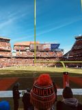 Fans pack down at the goal line to cheer on their Cleveland Browns. The Cleveland Browns are a professional American football team based in Cleveland, Ohio. The stock image