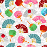 Fans pattern. Seamless pattern with Japanese fans Stock Images