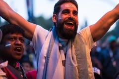 Fans pendant la coupe du monde de jeu de football Nigéria-Mexique image libre de droits