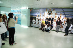 Fans are photographed near to photo Real Madrid Royalty Free Stock Photo