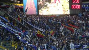 Fans que sostienen las banderas, audiencias, espectadores almacen de metraje de vídeo