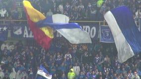 Fans que sostienen las banderas, audiencias, espectadores metrajes