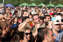 Fans at rock concert. A lots of fans at Tuborg Green Fest at Bucharest. Rock festival Stock Image