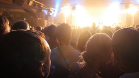 Fans at a rock concert. People crowd partying at concert in night club. Royalty Free Stock Photography