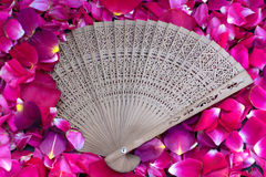 Fans and rose petals Royalty Free Stock Photo