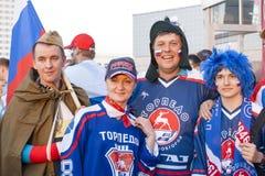 Fans rusas del hockey sobre hielo Imagen de archivo