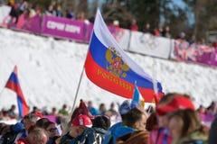 Fans rusas en Sochi Foto de archivo libre de regalías