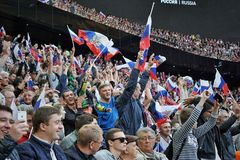 Fans of the russian national football team during the match against Costa Rica Stock Images