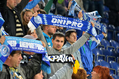 Fans with scarfs of FC Dnipro team Royalty Free Stock Photography