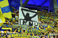 Fans with scarves and flags in Petrolul Ploiesti-Swansea FC Stock Images