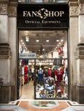 Fans Shop, official equipment, Milan. MILAN, NOV 12: Fans Shop in Milan, Nov 12, 2010. Official merchandise sales of Italian Serie A, B, Premier League, clubs Stock Photos