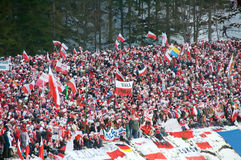 Fans of Ski Jumping. Fans on tribunes of stadium. The World Cup Ski Jumping, Large Hill in Zakopane 2008 royalty free stock images