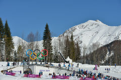 Fans on the ski stadium in Sochi Stock Image