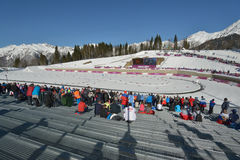 Fans on the ski stadium in Sochi Royalty Free Stock Image