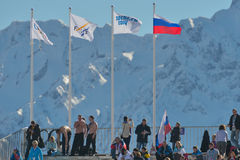 Fans on the ski stadium in Sochi Royalty Free Stock Photos