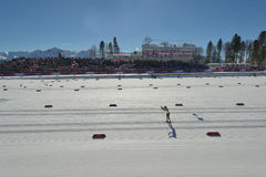 Fans on the ski stadium in Sochi Royalty Free Stock Photography