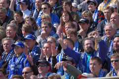 Fans of a soccer team Zenith. Stadium Petrovskiy, Saint-Petersburg, Russia Royalty Free Stock Photography