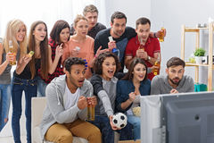 Fans of soccer watching match Royalty Free Stock Photography