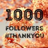 1000 fans. Social media celebration banner - 1000 followers. 1k online community fans Royalty Free Stock Photography