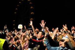 Fans som håller ögonen på en konsert med ett ferrishjul bakom på den Heineken Primavera ljudfestivalen 2013 Royaltyfri Fotografi