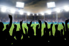 Fans in stadium. Football fans cheering in the soccer stadium Stock Images
