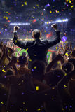 Fans on stadium game businessman stock image