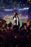 Fans on stadium game businessman stock photography
