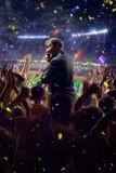Fans on stadium game businessman stock photos