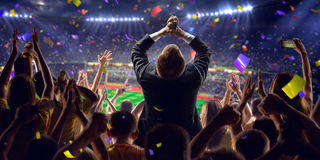 Fans on stadium game businessman stock image