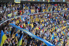 Fans in the stands of the Ukrainian team welcome Stock Photos
