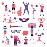 Fans Supporters Flat Icons Collection Stock Photo