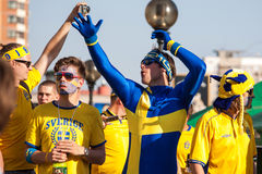 Fans of the Swedish national team Stock Photography