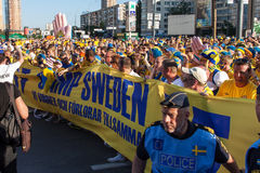 Fans of the Swedish national team Stock Image