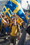 Fans of the Swedish national team Royalty Free Stock Photo