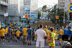 Fans of the Swedish national team Royalty Free Stock Photography