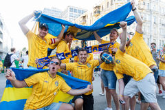Fans of the Swedish national team Royalty Free Stock Photos