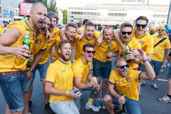 Fans of the Swedish national team Royalty Free Stock Image