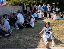 Fans of. SZCZECIN, POLAND - JUNE 14, 2014: Sail Szczecin 2014.Young fans gather outside waiting for the concert at Polish Justin Bieber Dawid Kwiatkowski Stock Image