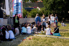 Fans of. SZCZECIN, POLAND - JUNE 14, 2014: Sail Szczecin 2014.Young fans gather outside waiting for the concert at Polish Justin Bieber Dawid Kwiatkowski Stock Photography