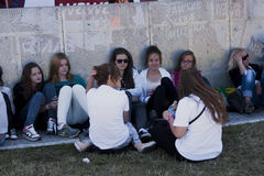 Fans of. SZCZECIN, POLAND - JUNE 14, 2014: Sail Szczecin 2014.Young fans gather outside waiting for the concert at Polish Justin Bieber Dawid Kwiatkowski Royalty Free Stock Photos